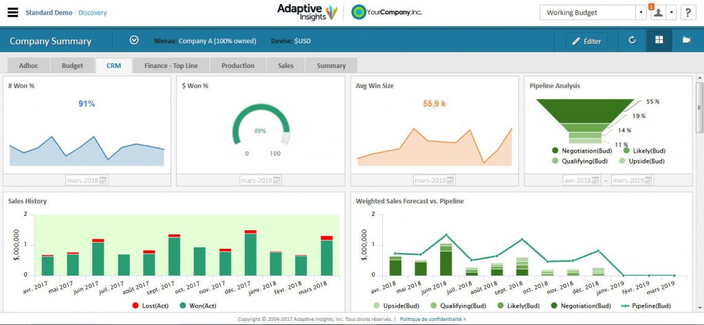 Exemple de dashboard Adaptive Insights