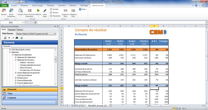 Adaptive Insights saisie du budget dans Excel